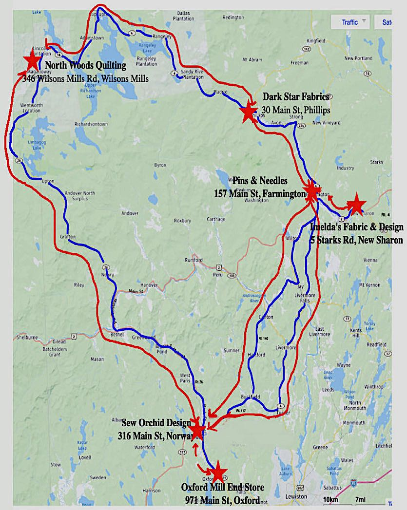 2019 Western Maine Shop Hop Map